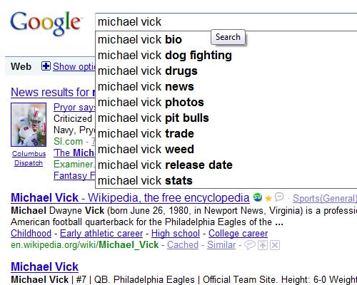 vick google search
